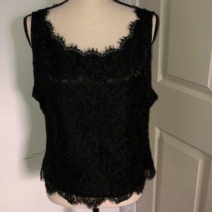 Natori black lace sleeveless blouse Size L